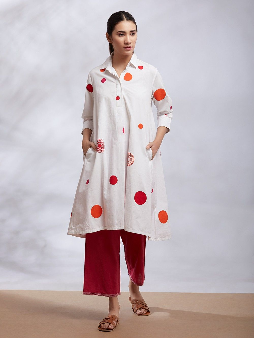 978678f798d0c4 Buy White Polka Dot Hand Block Printed Cotton Kurta online at Theloom