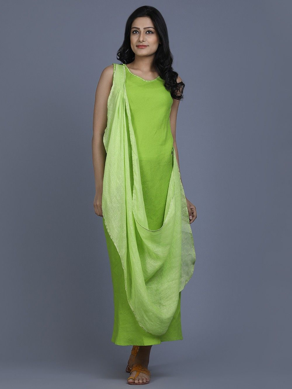 91bf7602ff Buy Lime Green Linen Long Santorini Dress online at Theloom