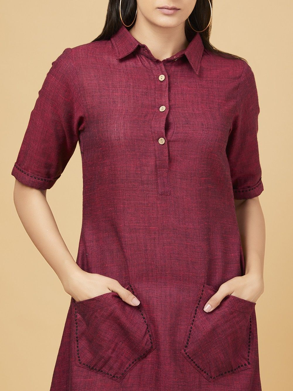 91e5d1c5c1 Buy Wine Cotton Linen High Low Dress online at Theloom