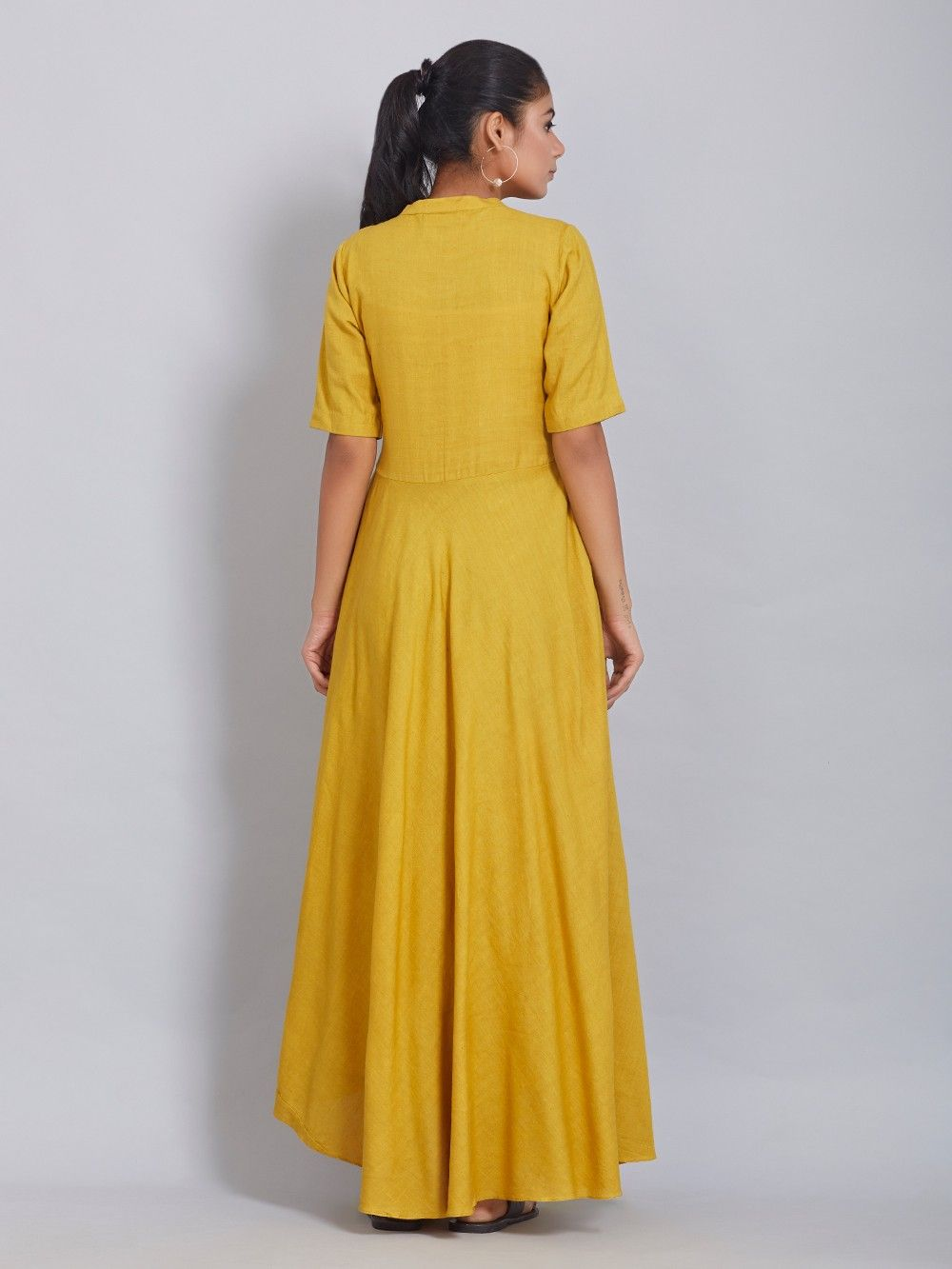 Buy Mustard Yellow Cotton Linen Dress Online At Theloom