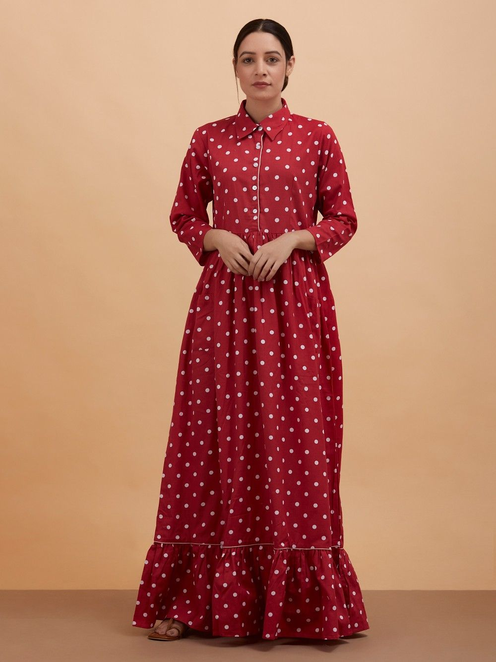 9b8137e6d4dc02 Buy Red Polka Dot Printed Cotton Maxi Dress online at Theloom