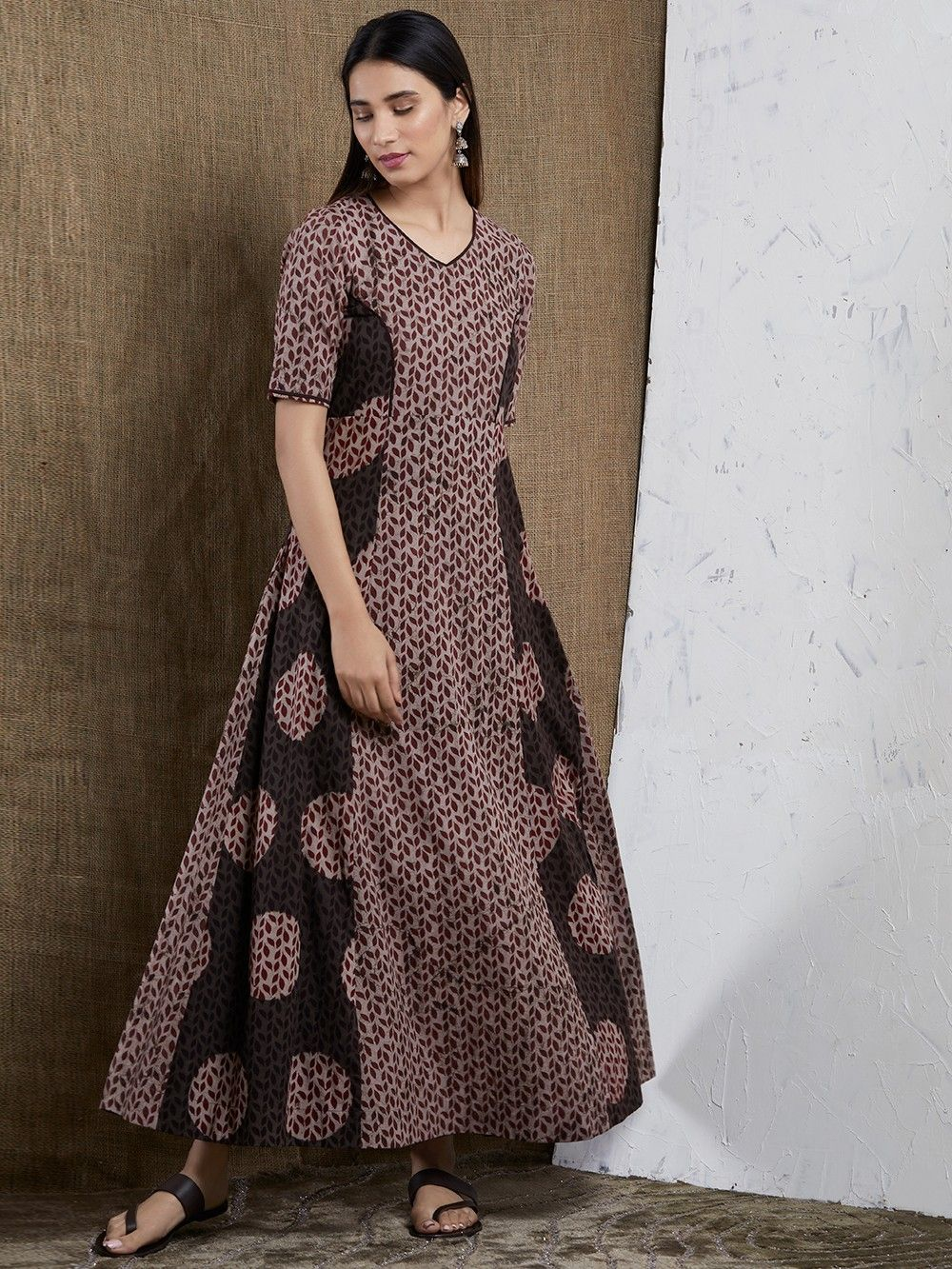 a05b1a476242 Buy Brown Hand Block Printed Cotton Maxi Dress online at Theloom