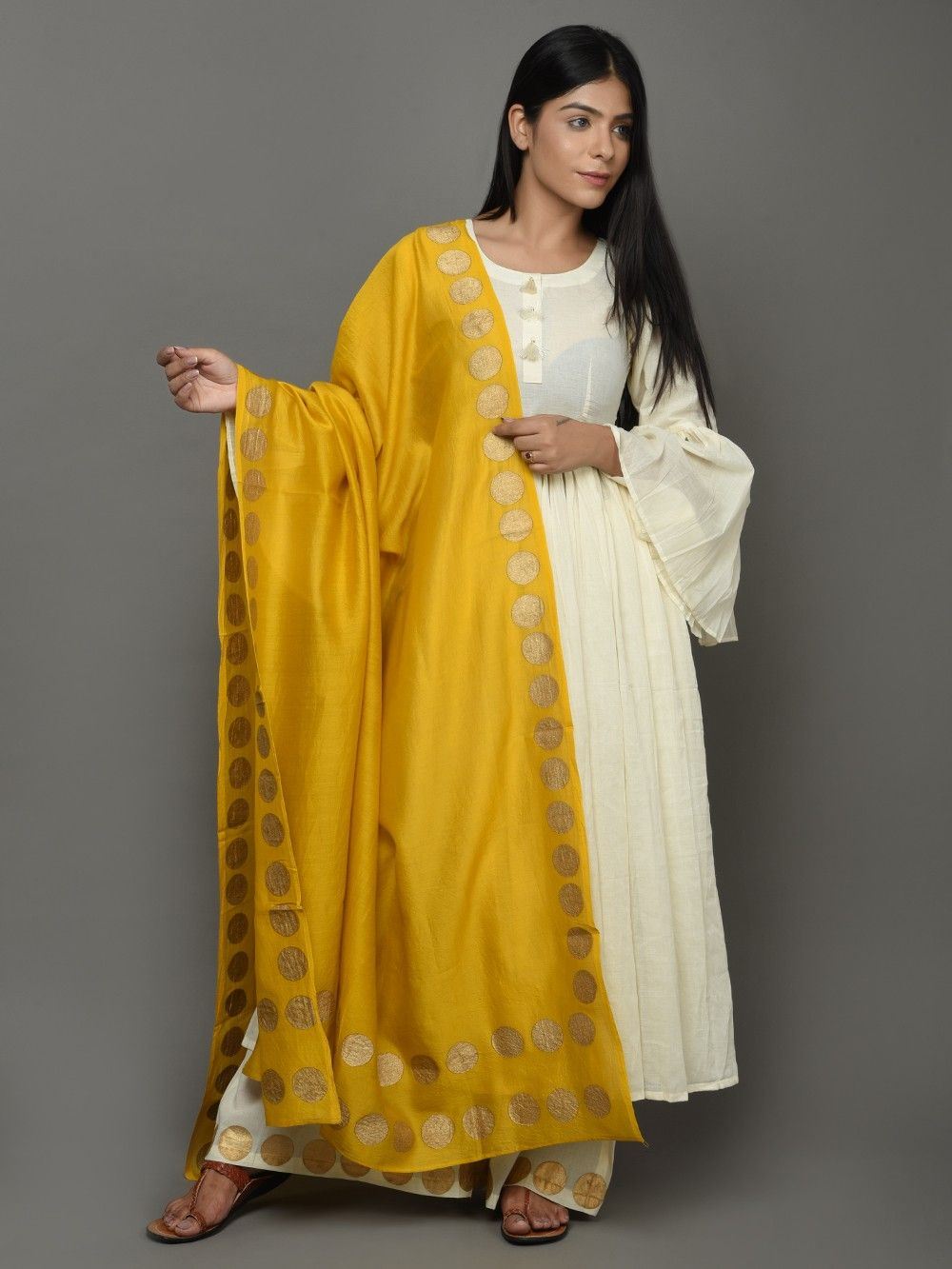 4146f3524fff Buy Off White Yellow Cotton Anarkali Suit - Set of 3 online at Theloom