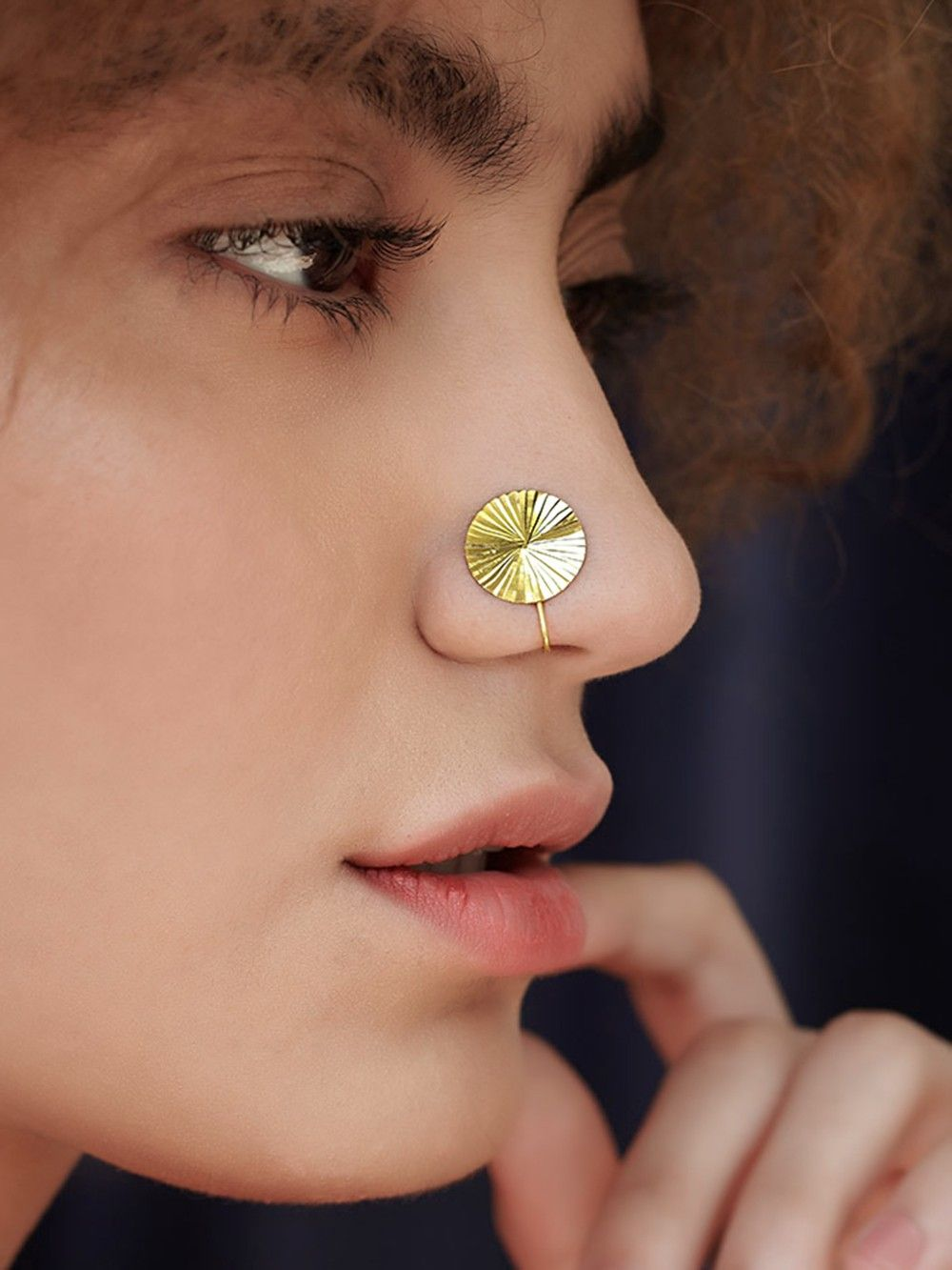 Buy Gold Plated Silver Round Nose Ring Online At Theloom