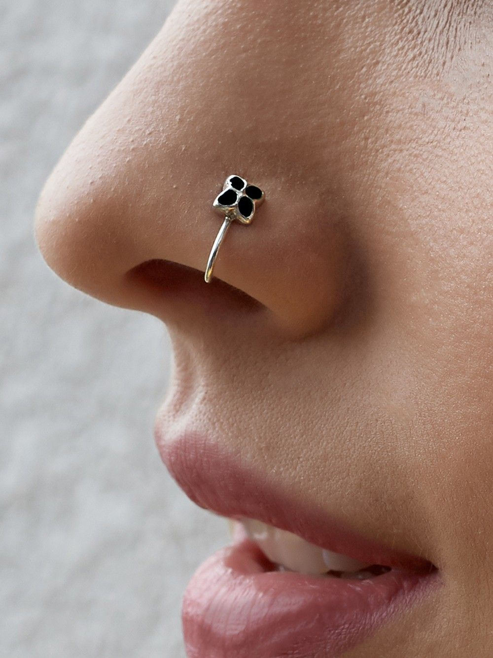 Buy Silver Black Nose Ring Online At Theloom