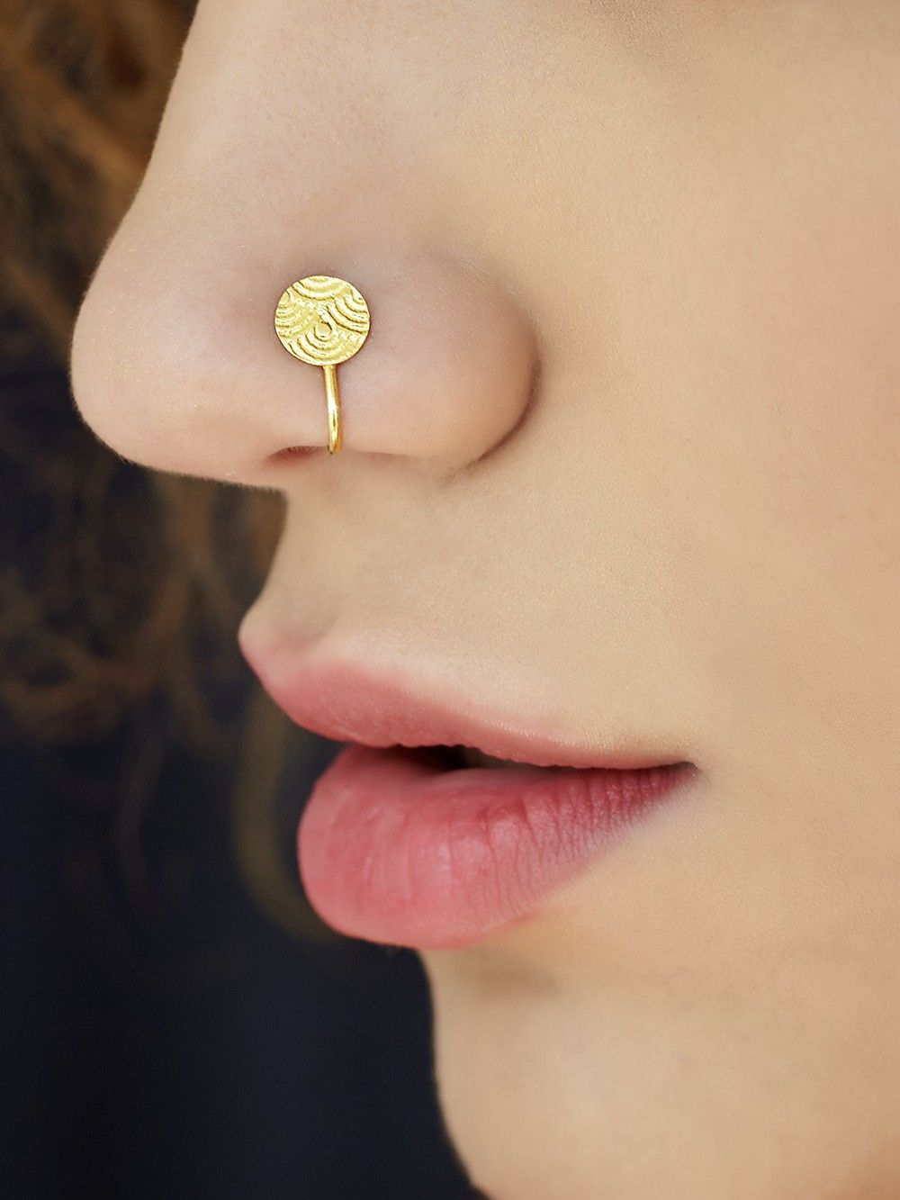 Buy Gold Plated Silver Textured Round Nose Ring Online At Theloom