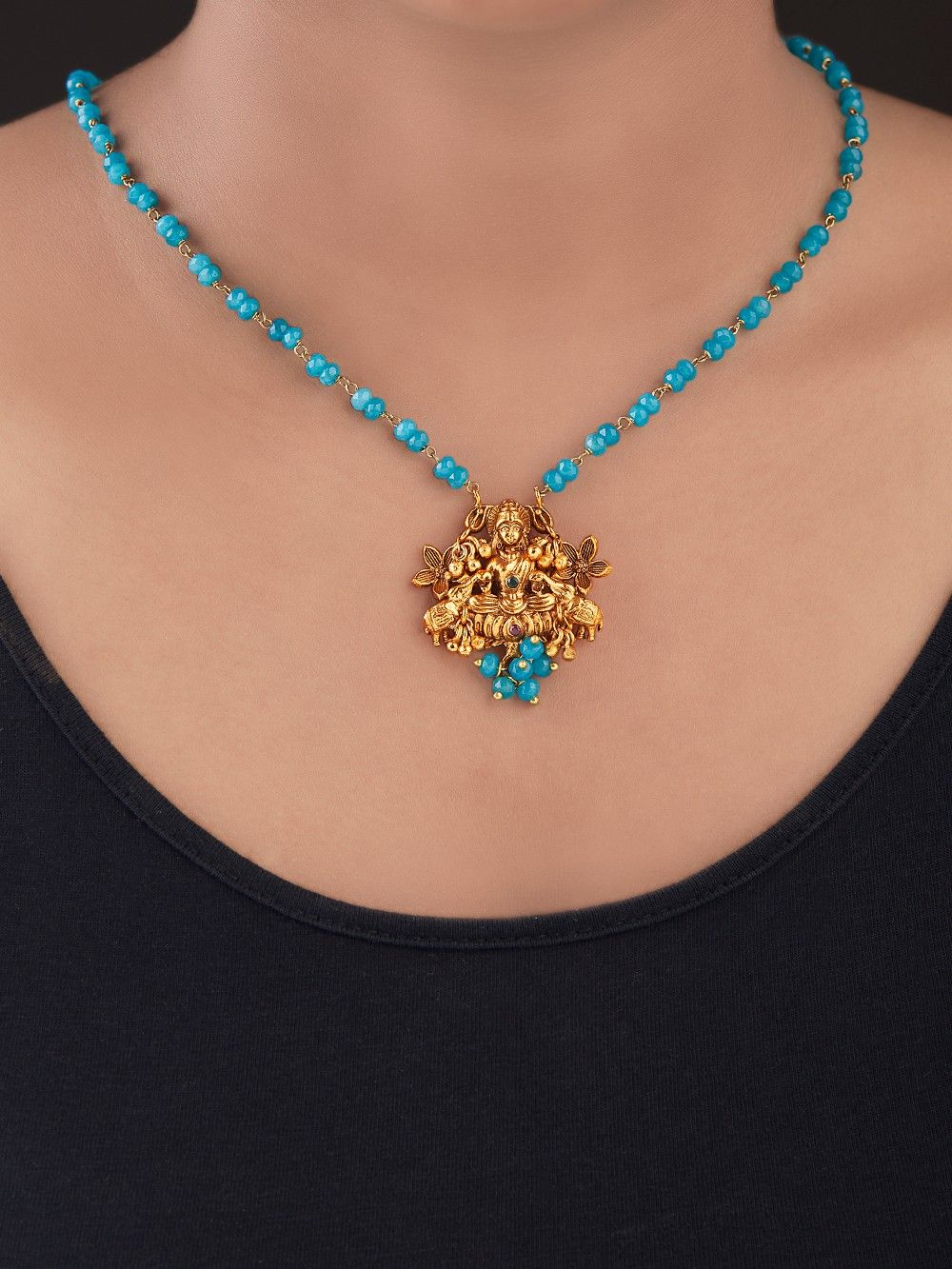 Buy Turquoise Gold Plated Silver Pendant Necklace online at Theloom ec802df31