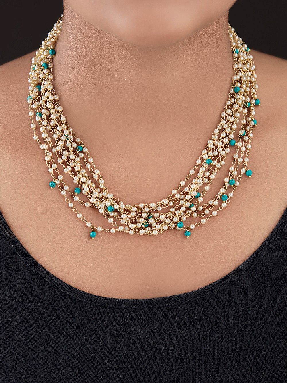 Buy Ivory Turquoise Gold Plated Silver Multistrand Necklace Online