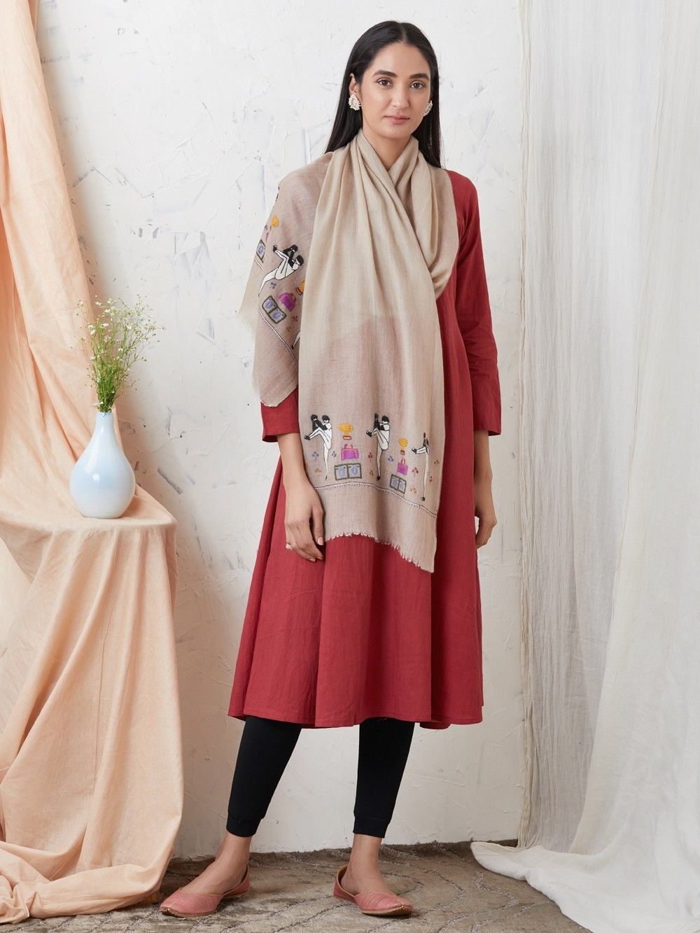 74e54a844c Buy Brown Hand Embroidered Cashmere Pashmina Scarf online at Theloom