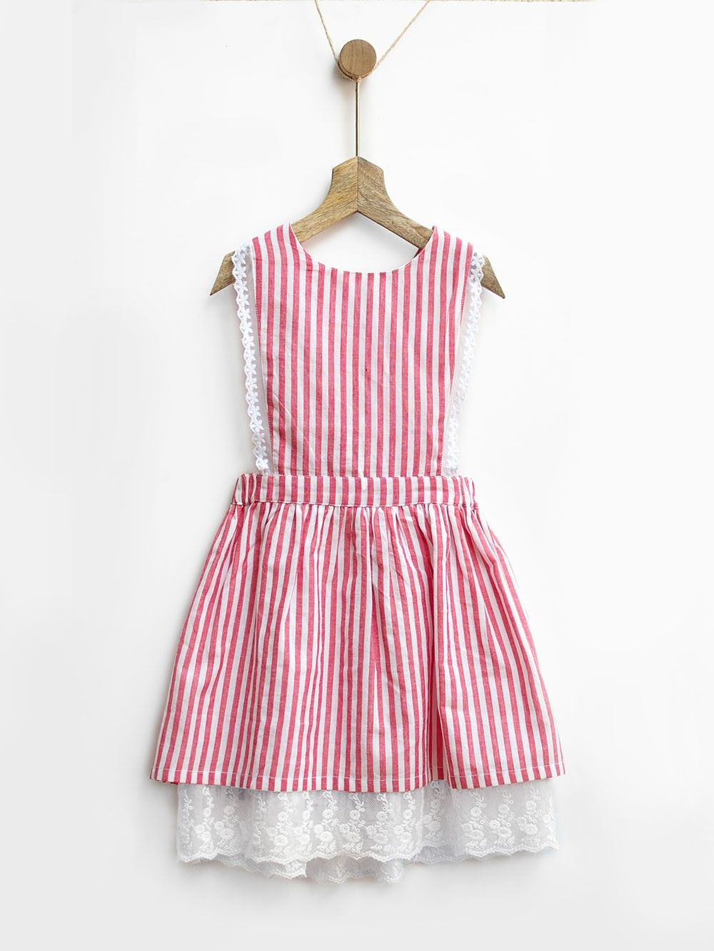 75f3b6a6d04 Buy Red White Gingham Stripes Cotton Pinafore Dress online at Theloom