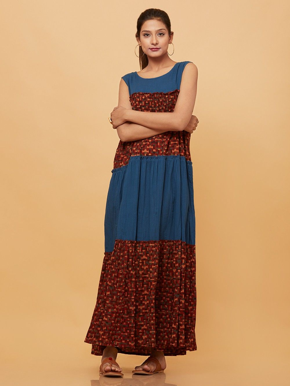 0ad51ea6f7e3 Buy Maroon Blue Cotton Ajrakh Printed Crushed Maxi Dress online at ...