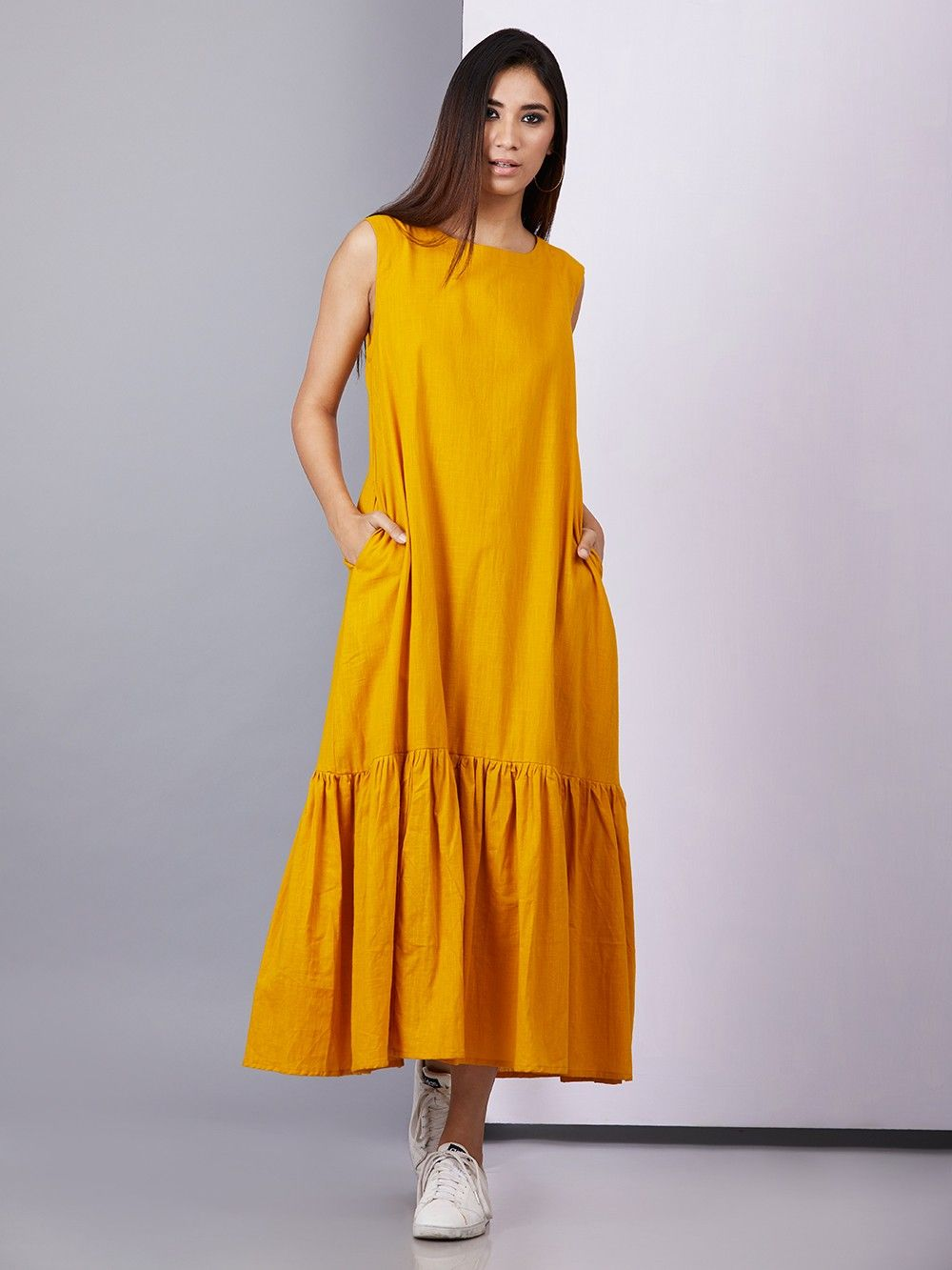 6b9a73b29f Buy Yellow Cotton Maxi Dress online at Theloom