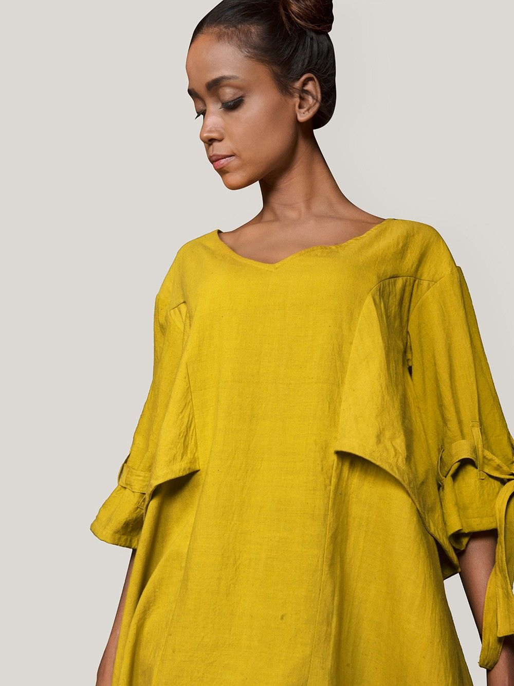3d1f935f01a Buy Mustard Yellow Khadi Asymmetric Top online at Theloom
