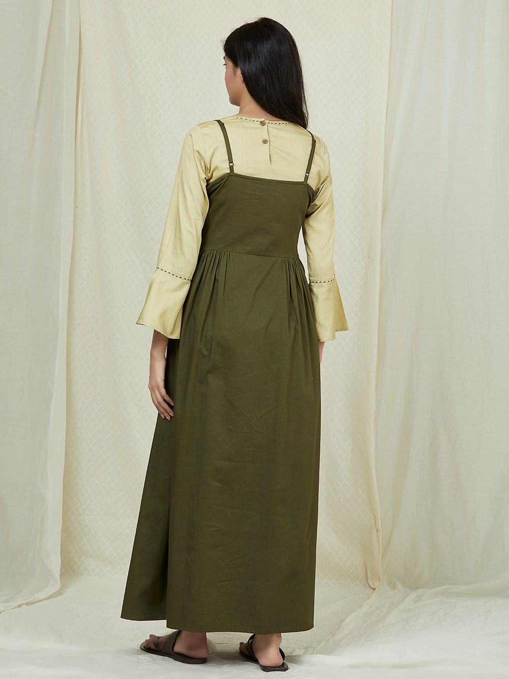 Nubuck-Costume Pants-Olive Brown-Long with Embroidery