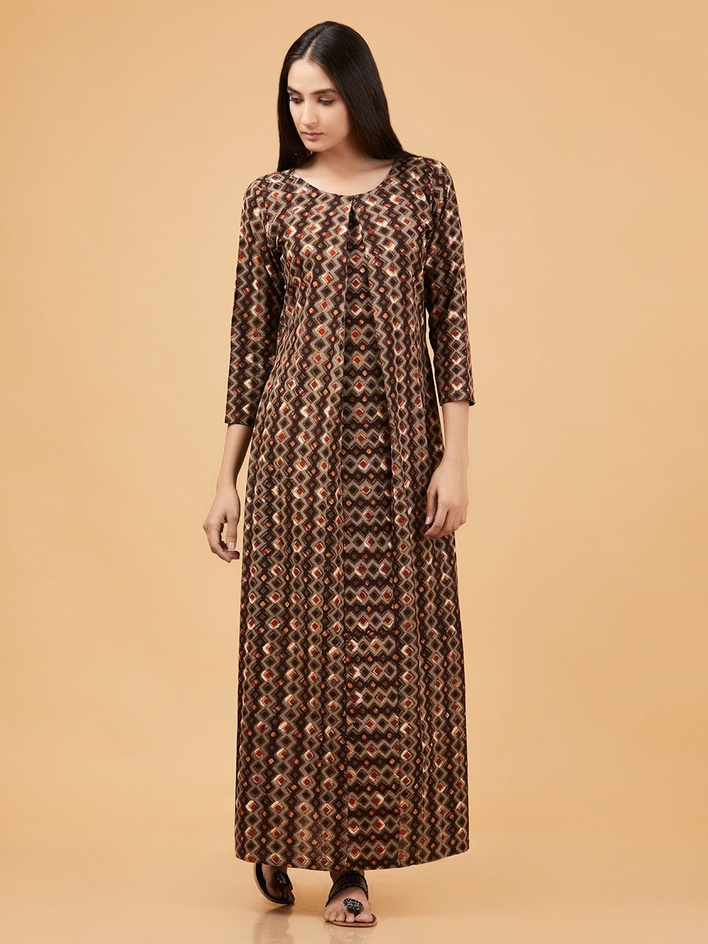 c23791406995 Buy Brown Dabu Printed Cotton Maxi Dress online at Theloom