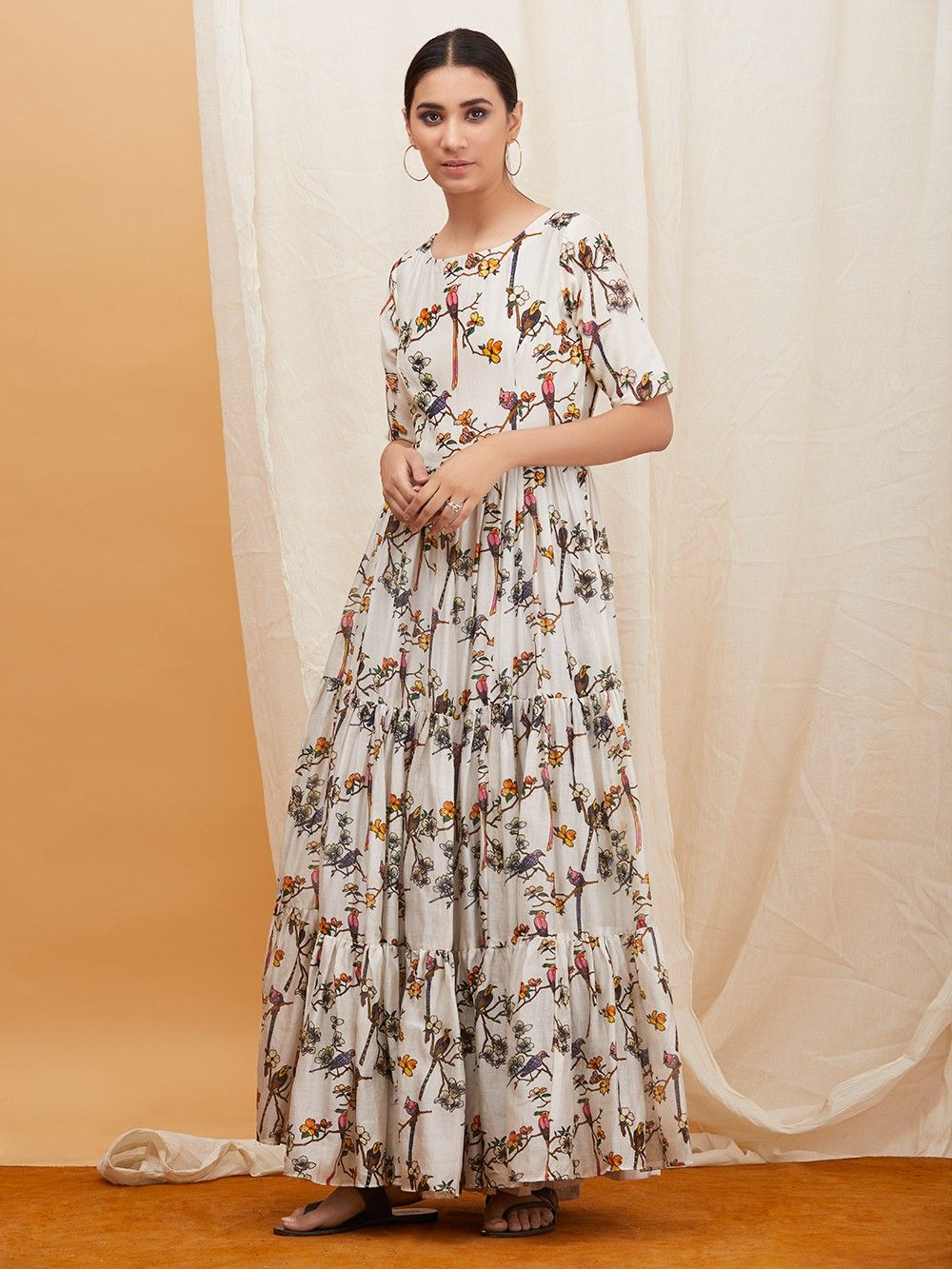 e602072bfe Buy Off White Floral Printed Chanderi Maxi Dress online at Theloom