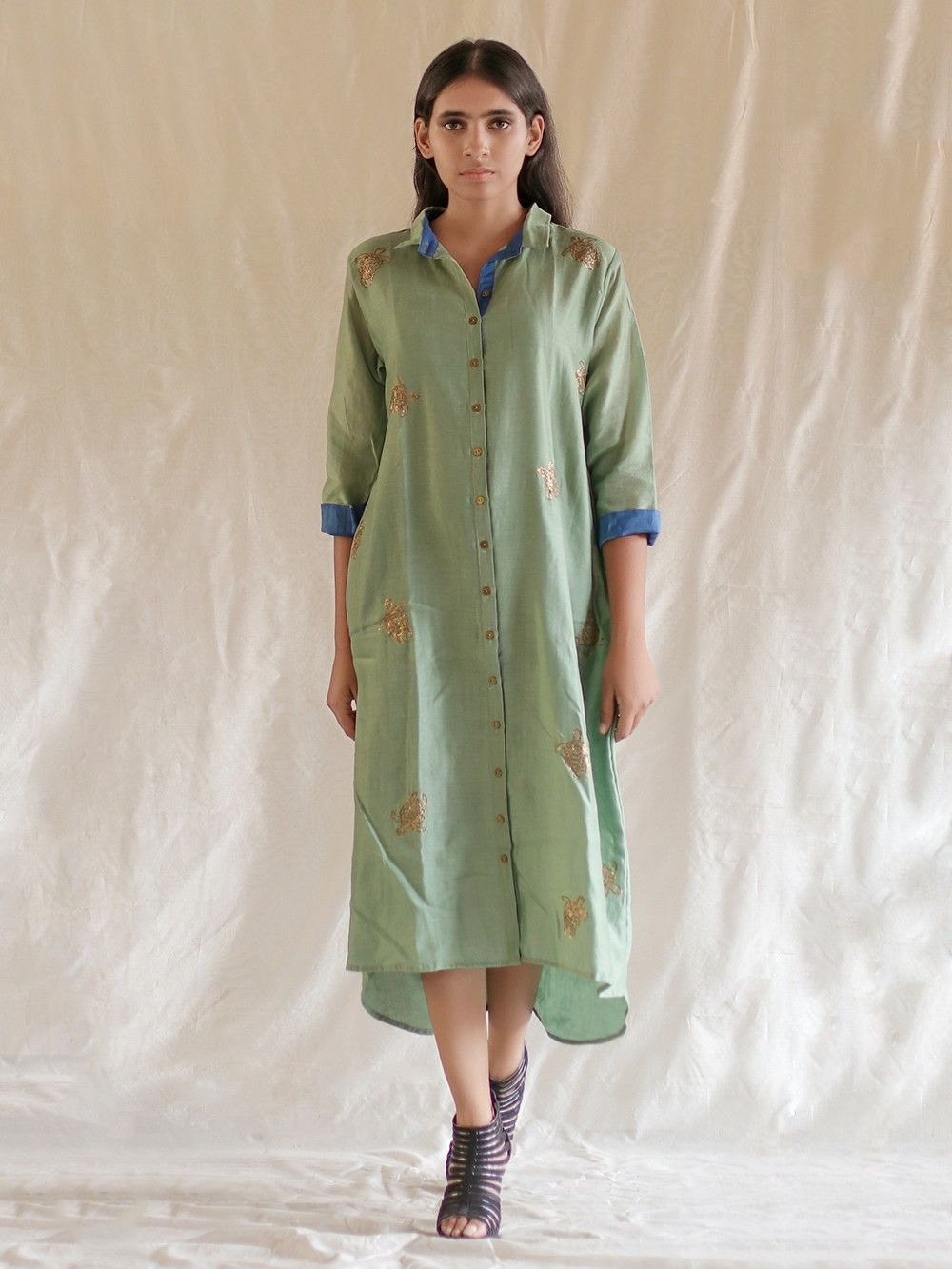 923d1af106cc Buy Green Hand Embroidered Chanderi High Low Shirt Dress online at ...
