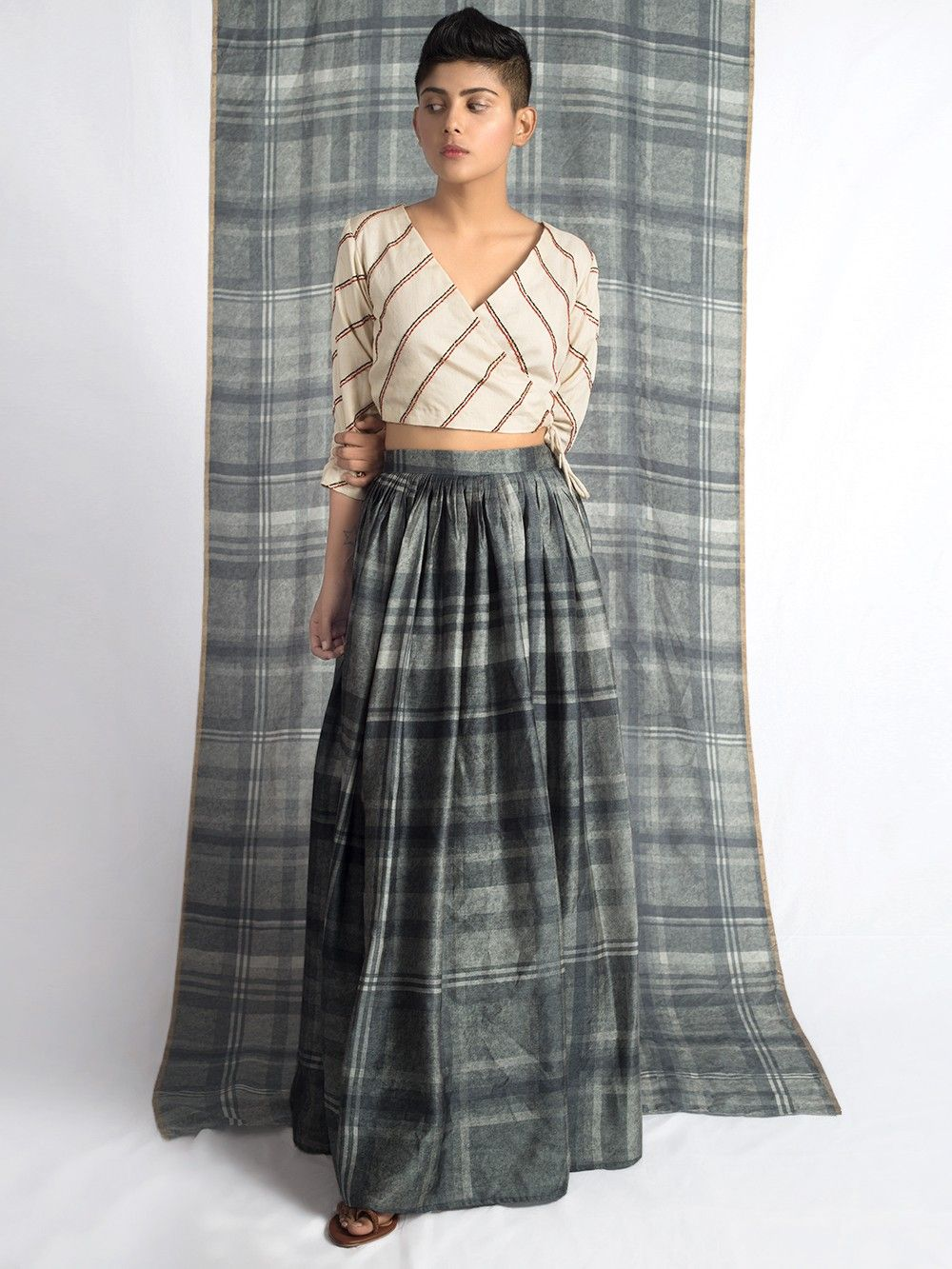 e3d1f5b8dc ... Crop Top with Grey Checkered Long Skirt - Set of 2. Hover to zoom