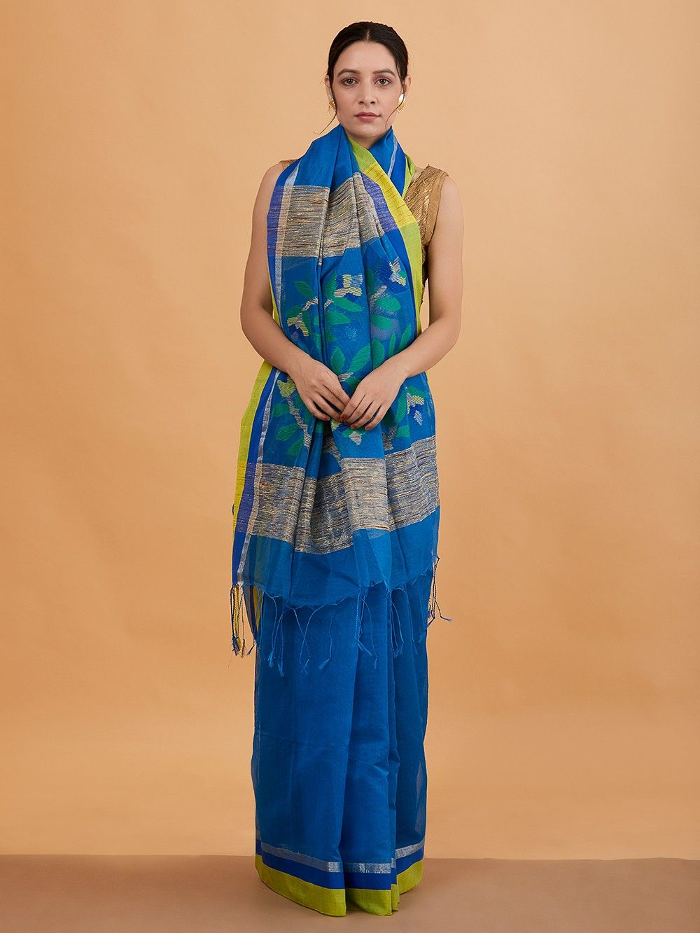 dd41aced00 Buy Blue Jamdani Handwoven Cotton Silk Saree online at Theloom