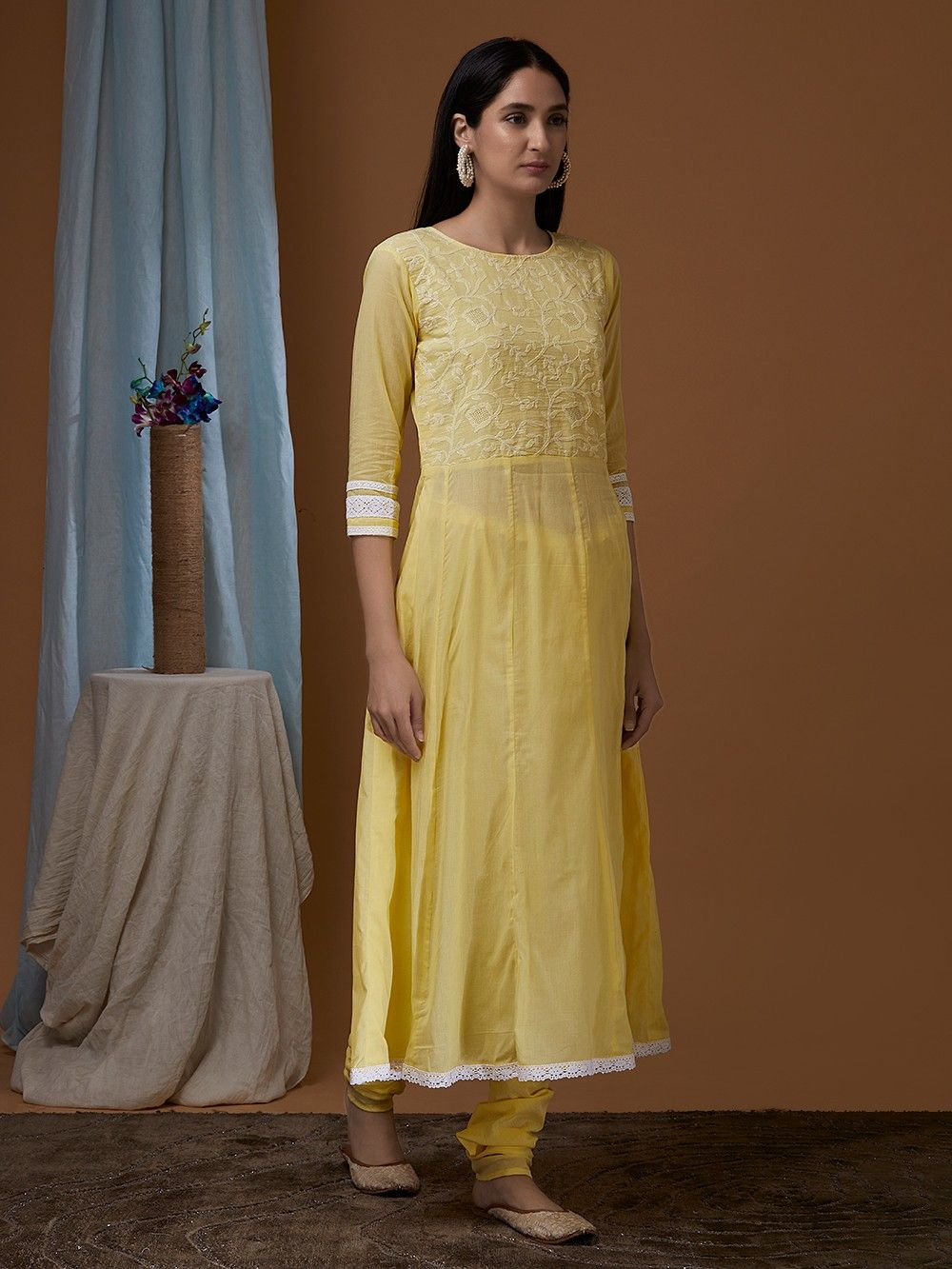 Buy Yellow Cotton Chikankari Suit - Set of 3 online at Theloom