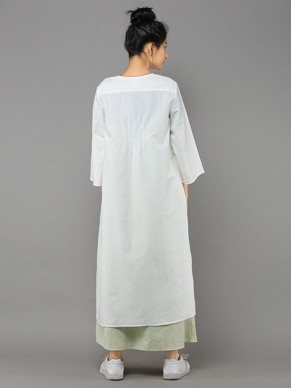 Buy White Cotton Sugarcube Duster Coat online at Theloom