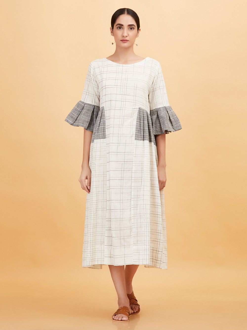 7aeac8c7e9a Buy White Grey Checkered Khadi Dress online at Theloom