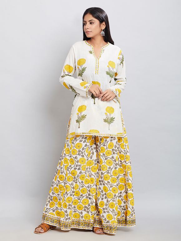 White Yellow Hand Block Printed Mulmul Kurta