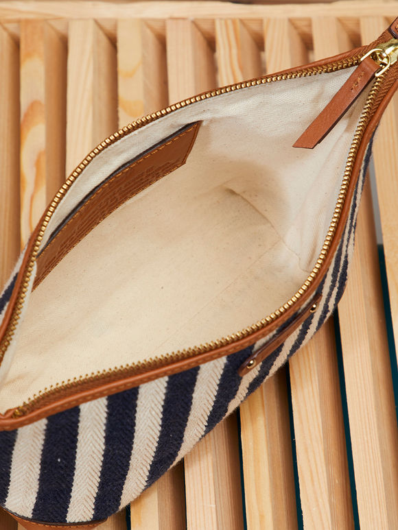 Black White Striped Handcrafted Faux Leather Pouch