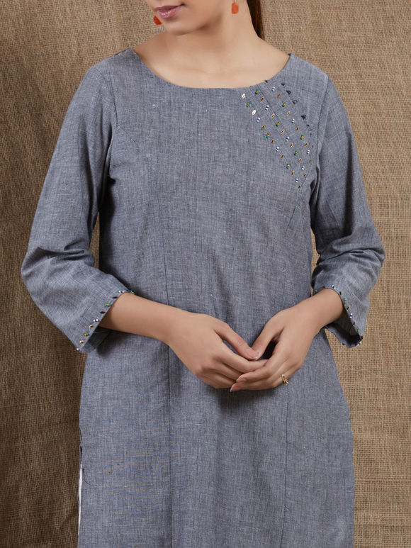 Grey Sequins Embroidered Mangalgiri Cotton Kurta with White Pants - Set of 2