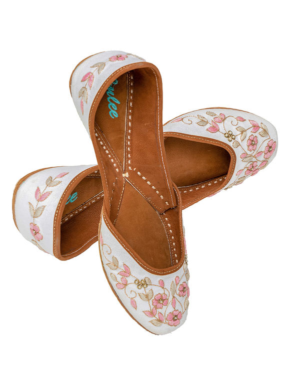 White Pink Embroidered Leather Mojari