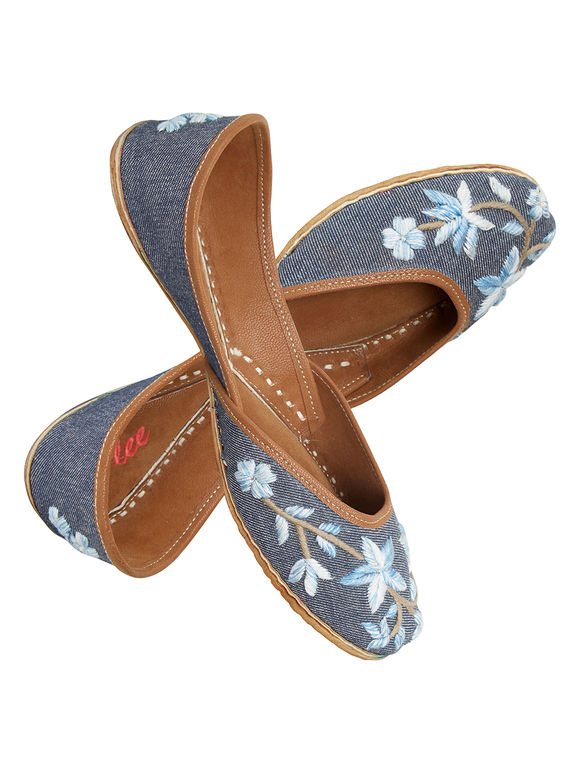 Denim Embroidered Leather Mojari