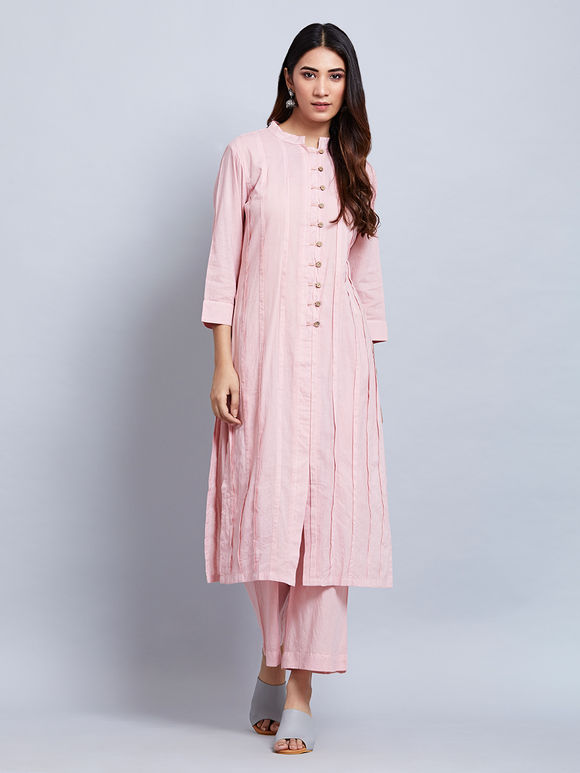 Pink Cotton Kurta with Palazzo and Clamp Dyed Mulmul Dupatta - Set of 3