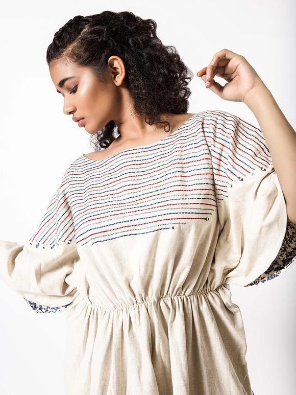 Off White Embroidered Khadi Frill Dress
