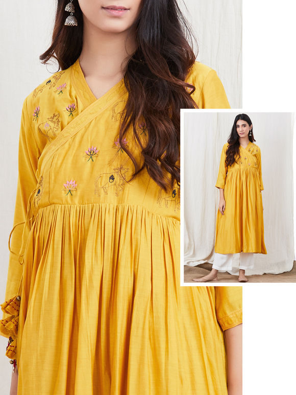 Yellow Zari Embroidered Cotton Silk Angrakha Kurta with White Palazzo- Set of 2