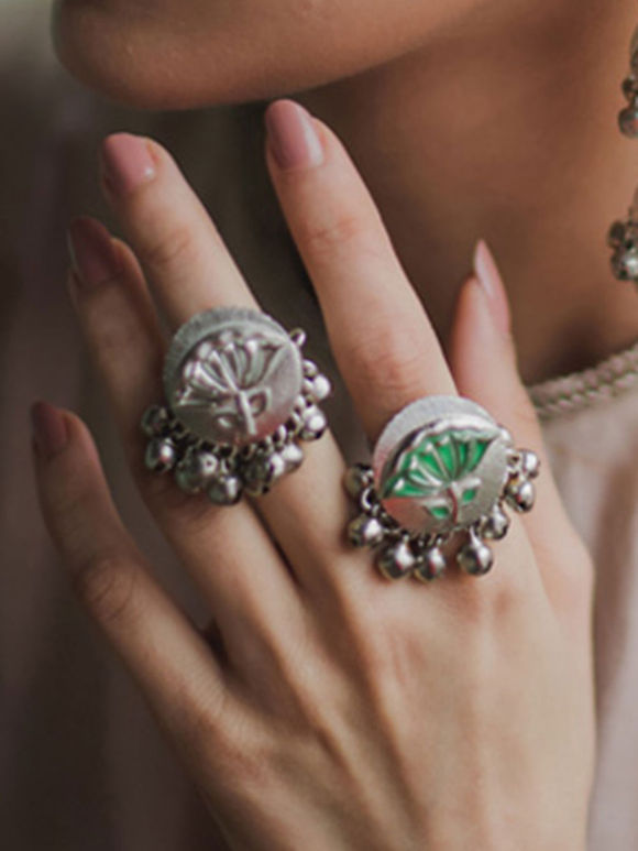 Silver Plated Brass Lotus Leaf Ring