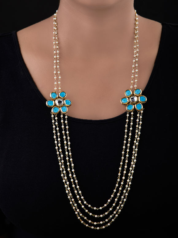 Off White Turquoise Gold Plated Silver Kundan Necklace