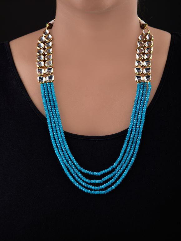 Turquoise Gold Plated Silver Kundan Necklace