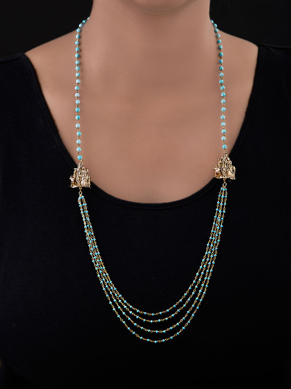 Turquoise Gold Plated Silver Multistrand Necklace