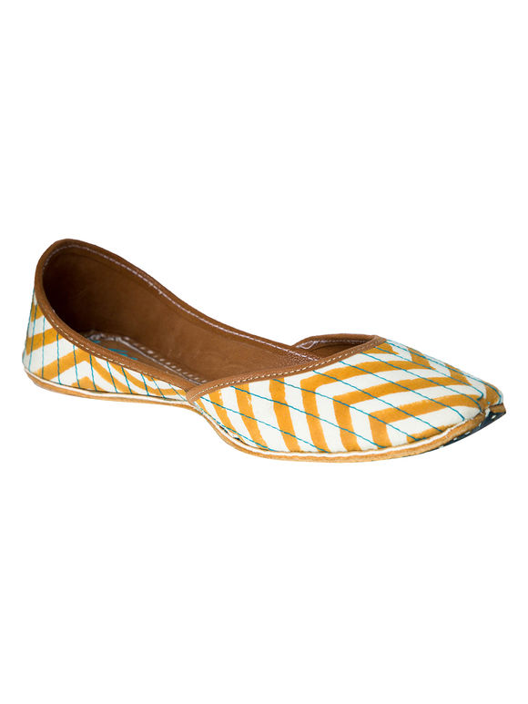 Mustard Yellow Chevron Block Printed Leatherette Mojari