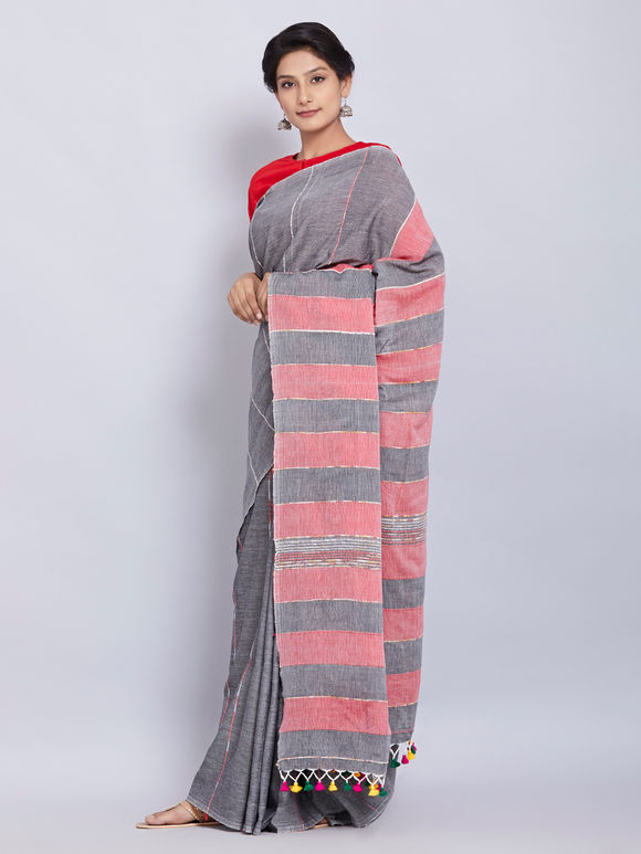 Grey Cotton Jamdani Saree