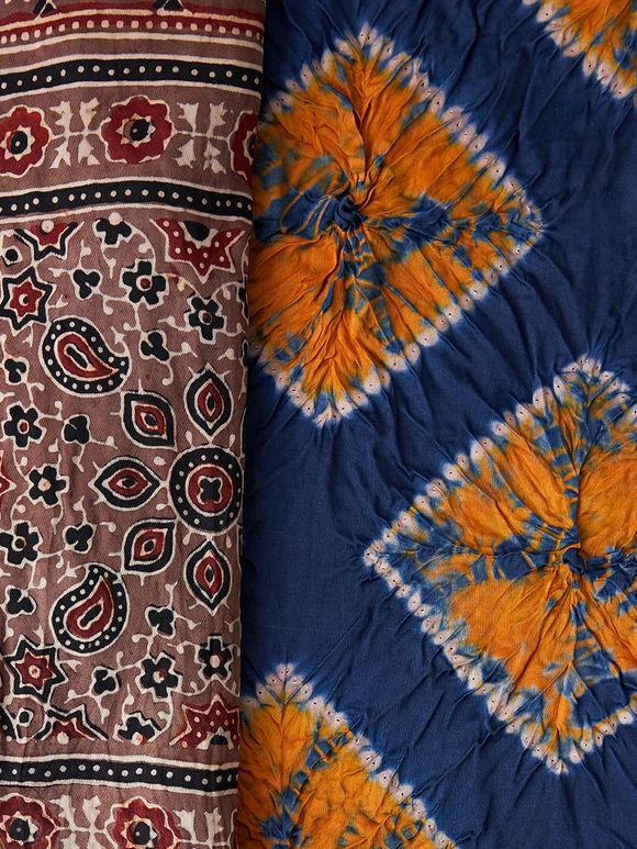 Orange Blue Tie and Dye Silk Dupatta