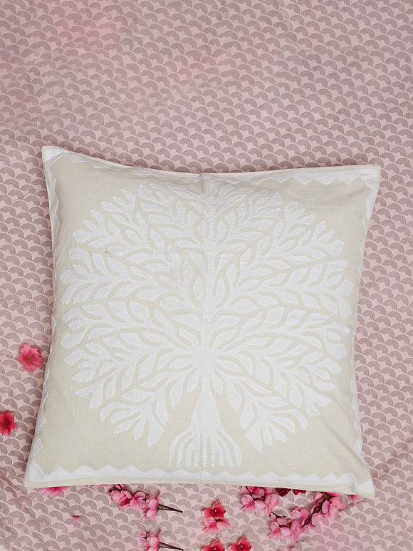 Off White Hand Embroidered Cotton Cushion Cover