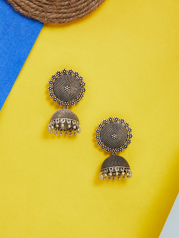 Silver Toned Handcrafted Brass Jhumkies