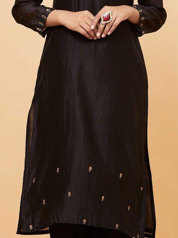 Black Chanderi Hand Embroidered Kurta