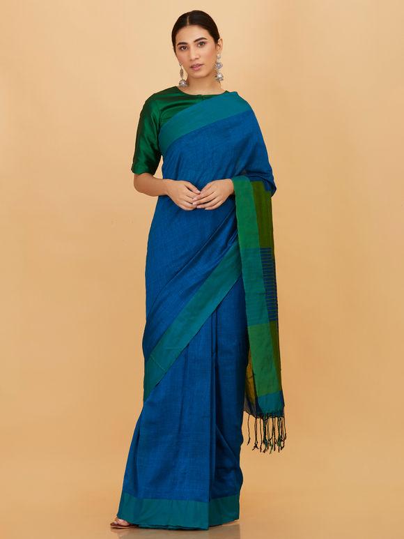 Blue Green Cotton Saree