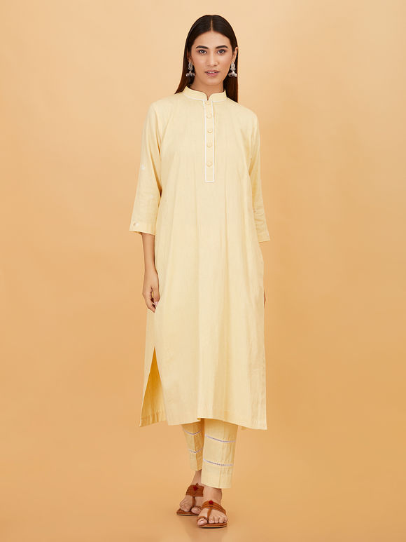 Yellow Cotton Linen Kurta with Pants and Embroidered Organza Dupatta - Set of 3