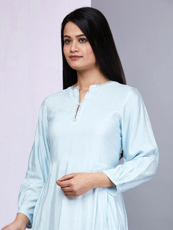 Powder Blue Cotton Silk Kurta