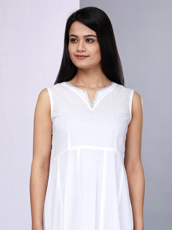 White Cotton Anarkali with Palazzo - Set of 2