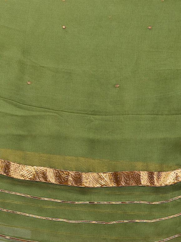 Olive Green Hand Embroidered Chiffon Dupatta