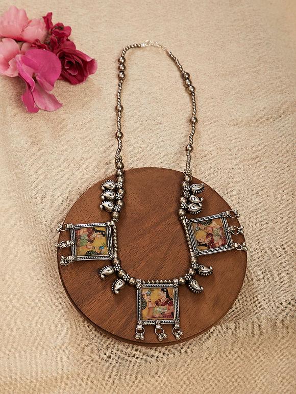Yellow Silver Toned Shekhavati Miniature Handpainted Brass Necklace